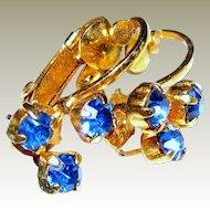 Dainty Signed Austrian Sapphire Crystal Clip Earrings