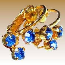 Dainty Signed Austrian Sapphire Crystal Clip Earrings