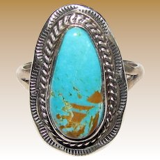 Navajo Sterling & Turquoise Ring Size 8 by Mike Ganadonegro