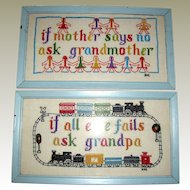 Vintage Pair of Grandparent Themed Cross Stitch Nursery Pictures
