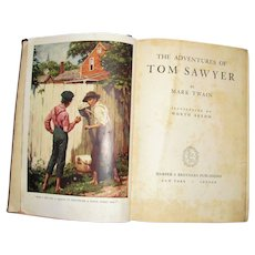 The Adventures of Tom Sawyer by Mark Twain - Vintage 1938 - Harper & Brothers, HC