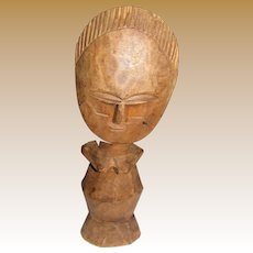 Vintage African Akuaba Hand Carved Wood Fertility Doll, Sculpture (No 1)