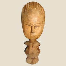 Vintage African Akuaba Hand Carved Wood Fertility Doll, Sculpture (No 2)