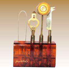 Bar Tools with Matching Stand, Georges Briard, Hollywood Regency, Amber Lucite & Gold Plated