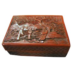 19th Century Chinese Cinnabar Carved Box