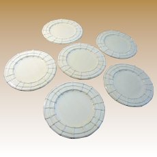 "Six 8 1/2"" Italian Majolica Plates, White w/ Basket Weave Border"