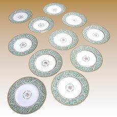 "Eleven Antique Wedgwood Hand Enameled 8"" Plates"