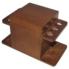 intage Oak 6 Pipe Holder/ Rack/ Stand with Humidor