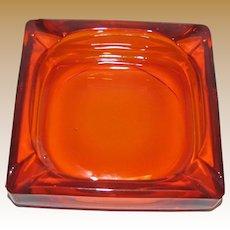 """Mid-Century Retro Orange Glass Cigar Cigarette Ashtray Square 6"""", Heavy, Near Mint"""