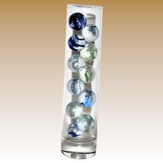 Coreless Ribbon Swirl Marbles, Clear Base, 11 Displayed in Libbey's Glass