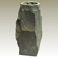 "Unique Natural Riven Slate 7"" Vase w/ Round Lip & Square Base"