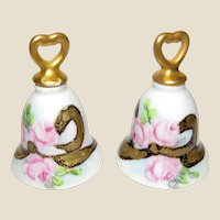 Vintage Hand Painted Wedding Bells Salt Shakers (2)