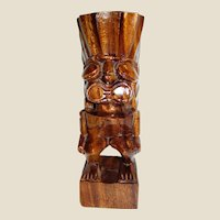 "Bold 10 1/2"" Hand Craved Tiki Statue from the Philippines"