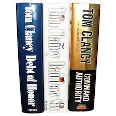 3 Books by Tom Clancy - Command Authority, Debt of Honor & Rainbow Six HCDJ, Nearly New