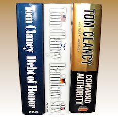3 Books by Tom Clancy - Command Authority, Debt of Honor & Rainbow Six HCDJ, Nearly New