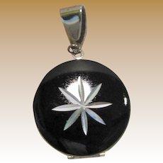 Elegant Silvertone & Black Enamel Modernist Locket