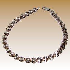 Sparkly Laser Cut Sterling Silver Delicate Modernist Retro Bracelet