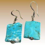 Vintage Hand Made Sterling & Turquoise Dangle Earrings