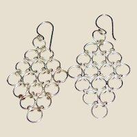 Sterling Silver Mesh Drop Chandelier Earrings, 2.7 grams