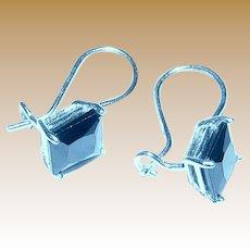 Petite Sterling Square Cut Crystal Earrings, 1.6 grams