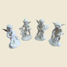 "Set of Dresden Porcelain 4 Seasons Cherubs by Sandizell w/ Crown ""N"" Mark"