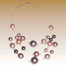 Elegant Faux Pearl Illusion Necklace, Rose Gold & Rose Brown Shades