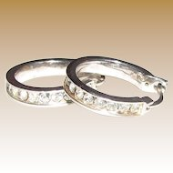 Crystal Set Sterling Small Hoop Earrings, 4.5 grams