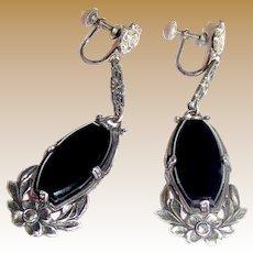 Exquisite Art Deco Sterling & Marcasite Drop Earrings