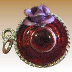 Sterling & Enamel Red Hat w/ Purple Flower Charm