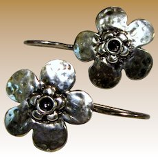 Hand Forged Sterling Flower Earrings, 3.8 grams