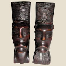 "Mid Century Hand Carved African 10"" Ebony Bookends, Tribal Man & Woman's Heads"