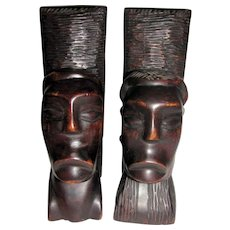 """Mid Century Hand Carved African 10"""" Ebony Bookends, Tribal Man & Woman's Heads"""