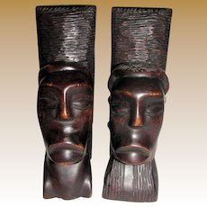 """Superb Hand Carved African 10"""" Ebony Bookends, Tribal Man & Woman's Heads"""