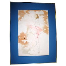 D.L. Powell Abstract Watercolor Painting of Ballet Dancer