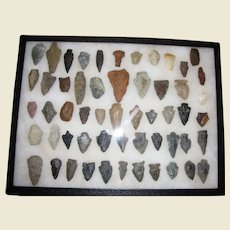 55 Piece Collection of Native American Indian Artifacts Arrowheads Collected from Ohio