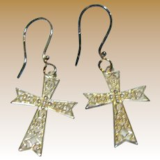 Southern Gates Sterling Filigree Cross Dangle Earrings