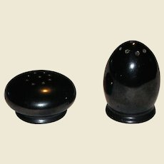 Salt and Pepper Shaker Set Metallic Black Glaze