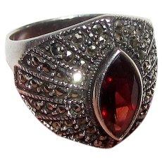 Art Deco Style Sterling, Garnet, Marcasite Ring, Size 8, 8.2 Grams