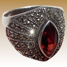 Art Deco Style Sterling, Garnet, Marcasite Ring, Size 8, 8.2 Grams
