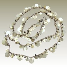 "40"" Cut Shell & Hematite Silvertone Chain Necklace"