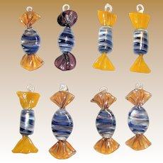 Eight Murano Glass Candy Pieces, Hand Blown, Mint