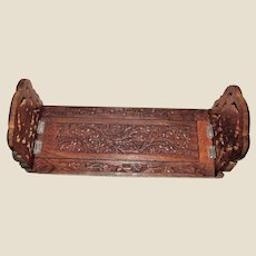 Vintage Hand Carved Wooden Floral Sliding Book Rack / Stand