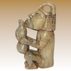 "7"" Hand Carved Soapstone Sculpture of Mayan"