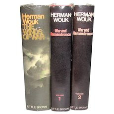 The Winds of War & War and Remembrance by Herman Wouk, 1971, 1978 HCDJ, Book Club Edition, Excellent