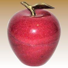 Vintage Solid Marble Alabaster Red Apple Paperweight Brass Stem Leaf