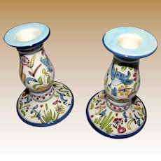 Portuguese Hand Painted Pottery Candle Holders, Flowers, Birds!