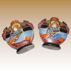 "Pair of Art Deco Miniature 3"" Satsuma Moriage Geisha Vases"