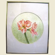 "16"" Botanical Watercolor, Vintage, Unsigned"