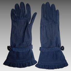 Elegant Navy Fabric Ruffle Gloves by Van Raalte, Size 6 1/2