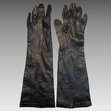 1960's Silk Lined Black Kid Leather Long Gloves by Grandoe, Size 6 1/2